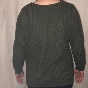 Charlotte Russe Sweaters - Green V-Neck Knit Sweater